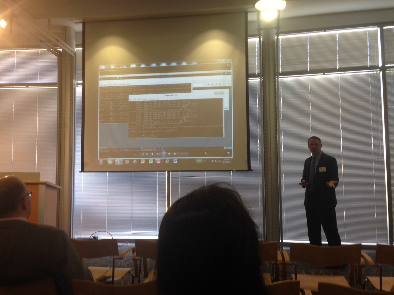 Michael Garvin of Symantec showing a simulation of a hack into a hospital's network.