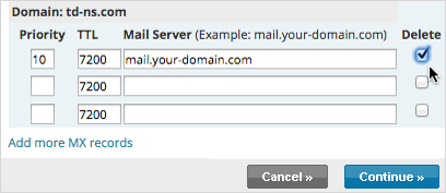 Select all MX records besides mx2.paubox.com under Mail Server and click Continue to delete existing MX records.