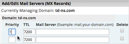 In the Priority field, enter 10. In the TTL field, enter 7200. In the Mail Server field, enter mx2.paubox.com.