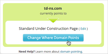 Click Change Where Domain Points in the Advanced DNS Settings section.