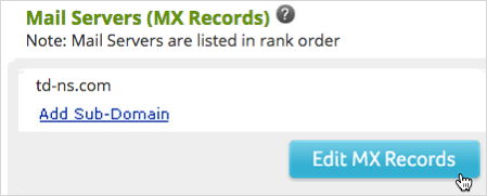 Scroll down to Mail Servers (MX Records) and click Edit MX Records.