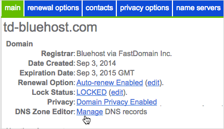 Select your domain from the list on the left, and then click Manage in the DNS Zone Editor.