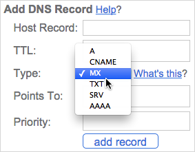 Scroll down to the top of the page to the Add DNS Record section. Select MX from the Type field.
