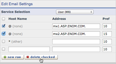 In the form, select all of the existing MX records besides mx2.paubox.com by checking the boxes on the left and click Delete checked.