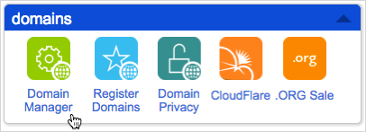 Scroll down to domains and click Domain Manager.