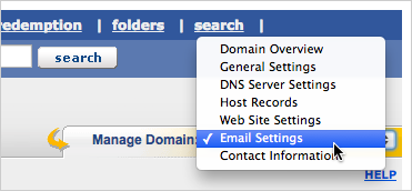 From the Manage Domain drop-down menu on the right, select Email Settings.