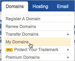 From the Domains menu at the top of the eNom website, click My Domains.