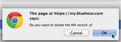 Click OK in the confirmation dialog box.
