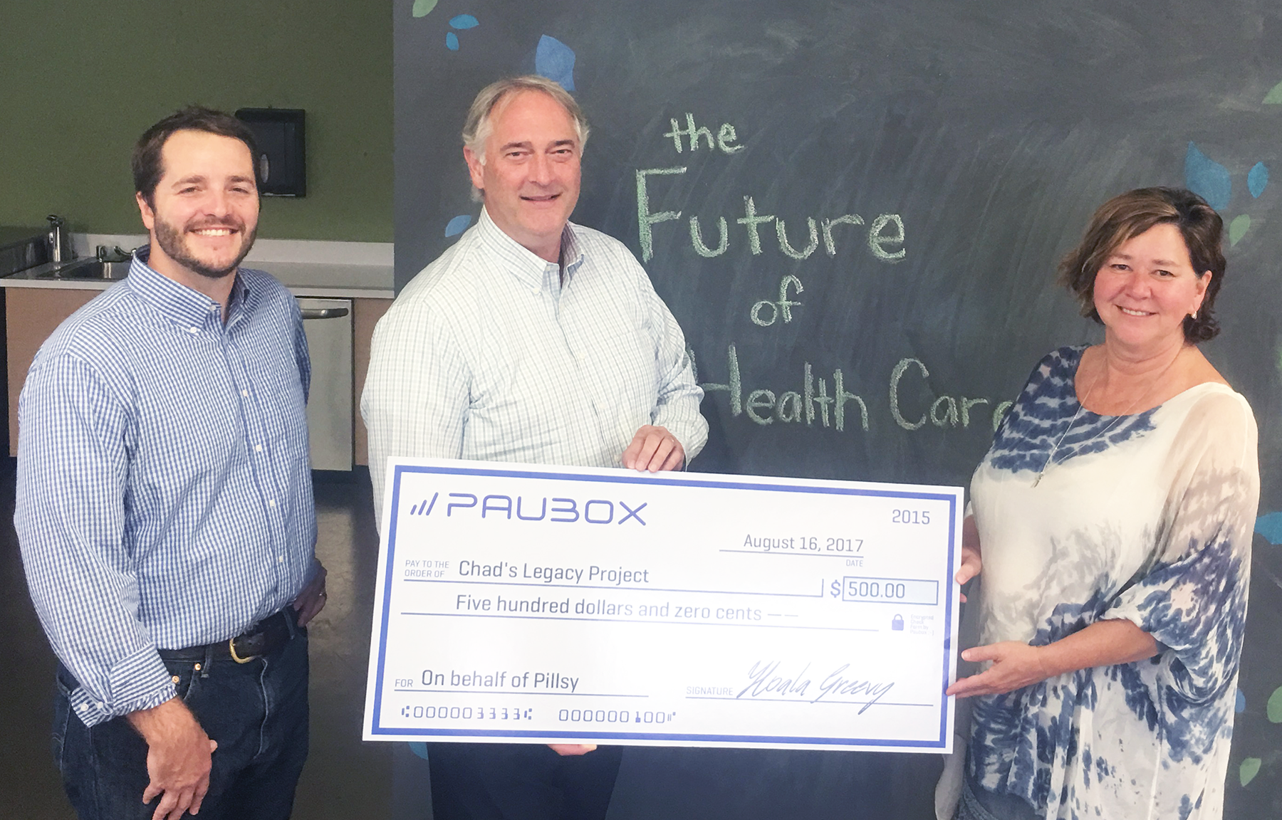 paubox donation chad's legacy project pillsy level therapy 500 startups
