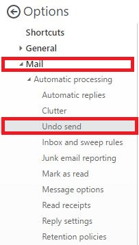 office 365 undo send