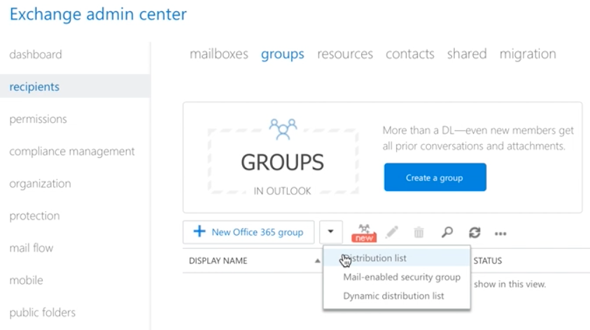 Using the Exchange Admin Center to Split Encrypted Senders - Create a Group