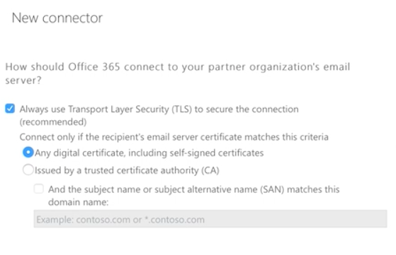 Using the Exchange Admin Center to Split Encrypted Senders - Create a Connector