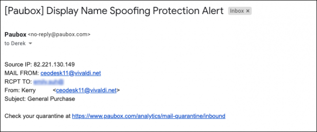 display name spoofing phishing attack example - Paubox