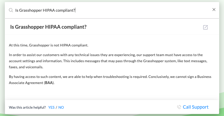 Can I use Grasshopper and be HIPAA Compliant?