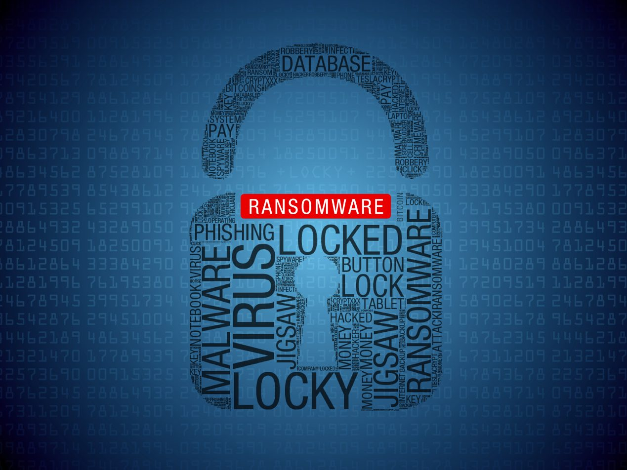 Blue background with columns of lighter blue 8 digit numbers and a centered lock shaped by black cyber-related words with a white RANSOMWARE on a red background above the keyhole.