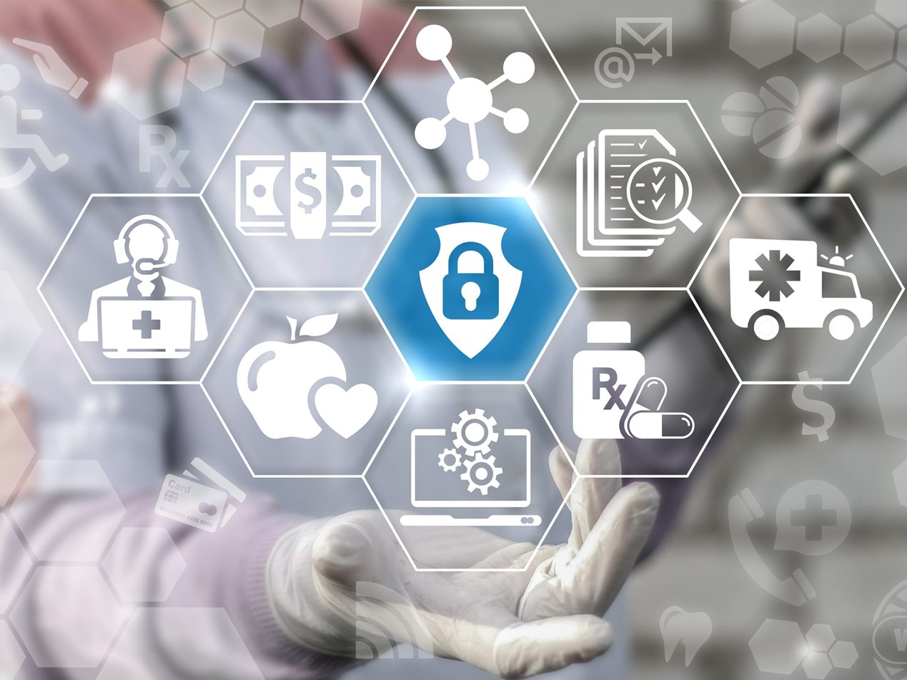 Blue lock in hexagon surrounded by eight aspects of healthcare security.