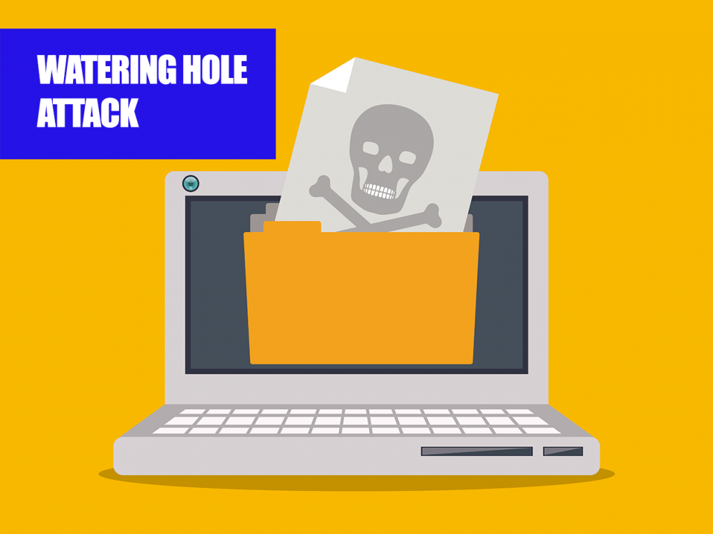 watering hole attack illustration, malware downloading on computer