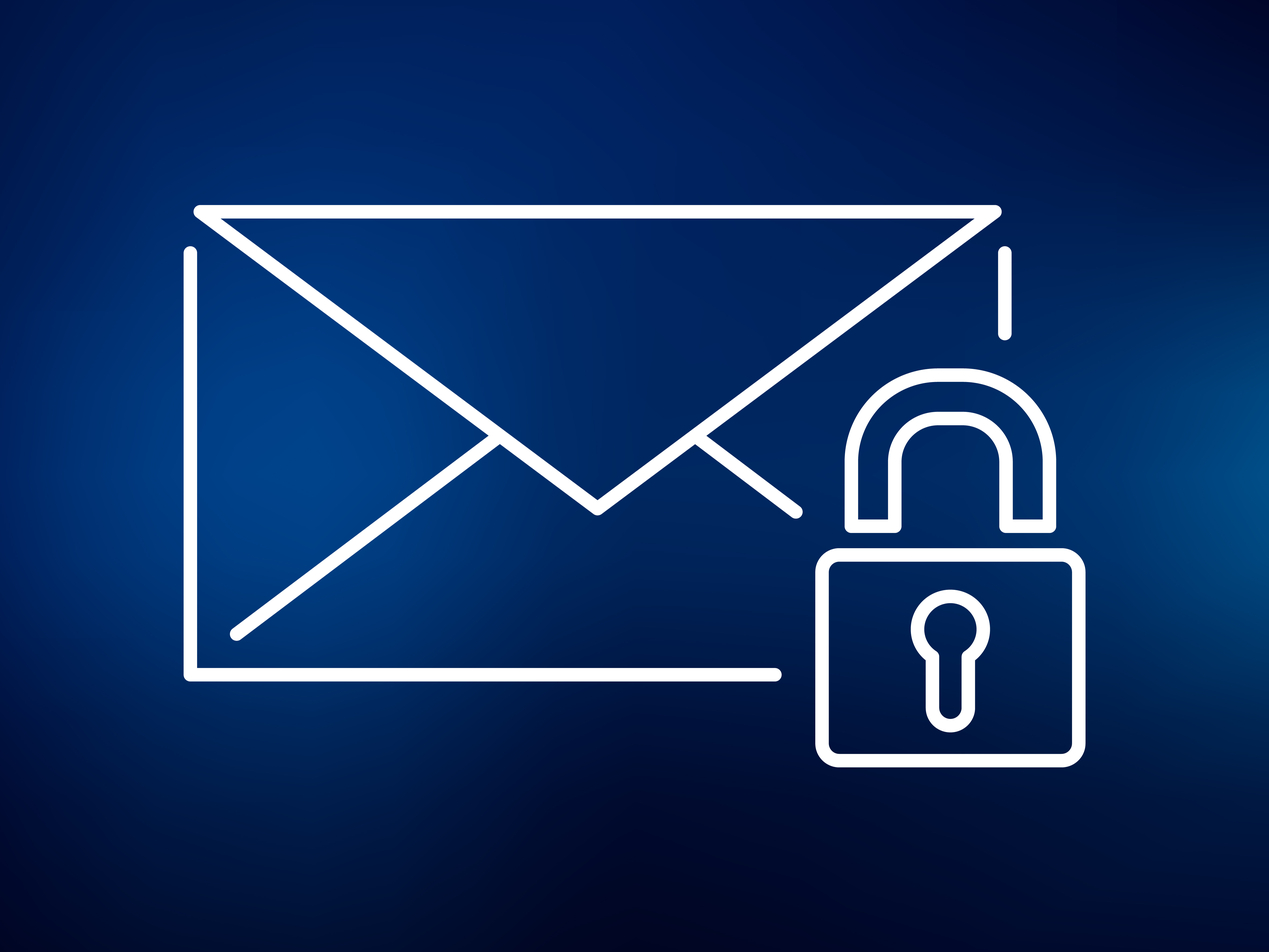 Image of a white outlined envelope with seal facing forward and a white outlined padlock towards its bottom right corner, on a dark blue background.