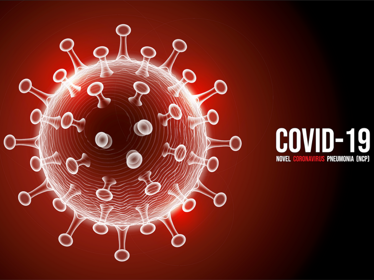 "Image of COVID-19 virus with text to its write ""COVID-19, Novel Coronavirus Pneumonia (NCP)."""