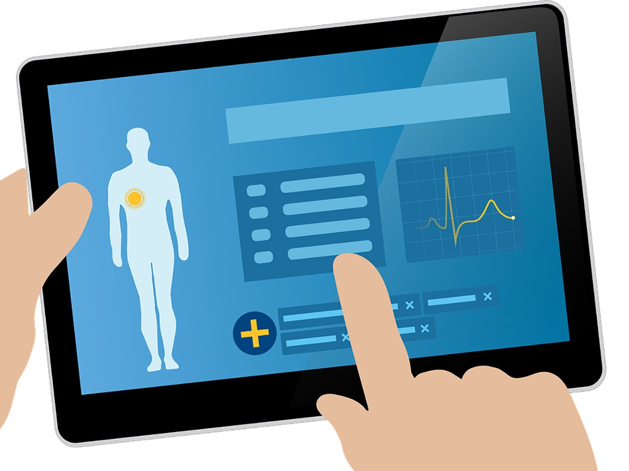 Graphic of electronic health record on tablet.