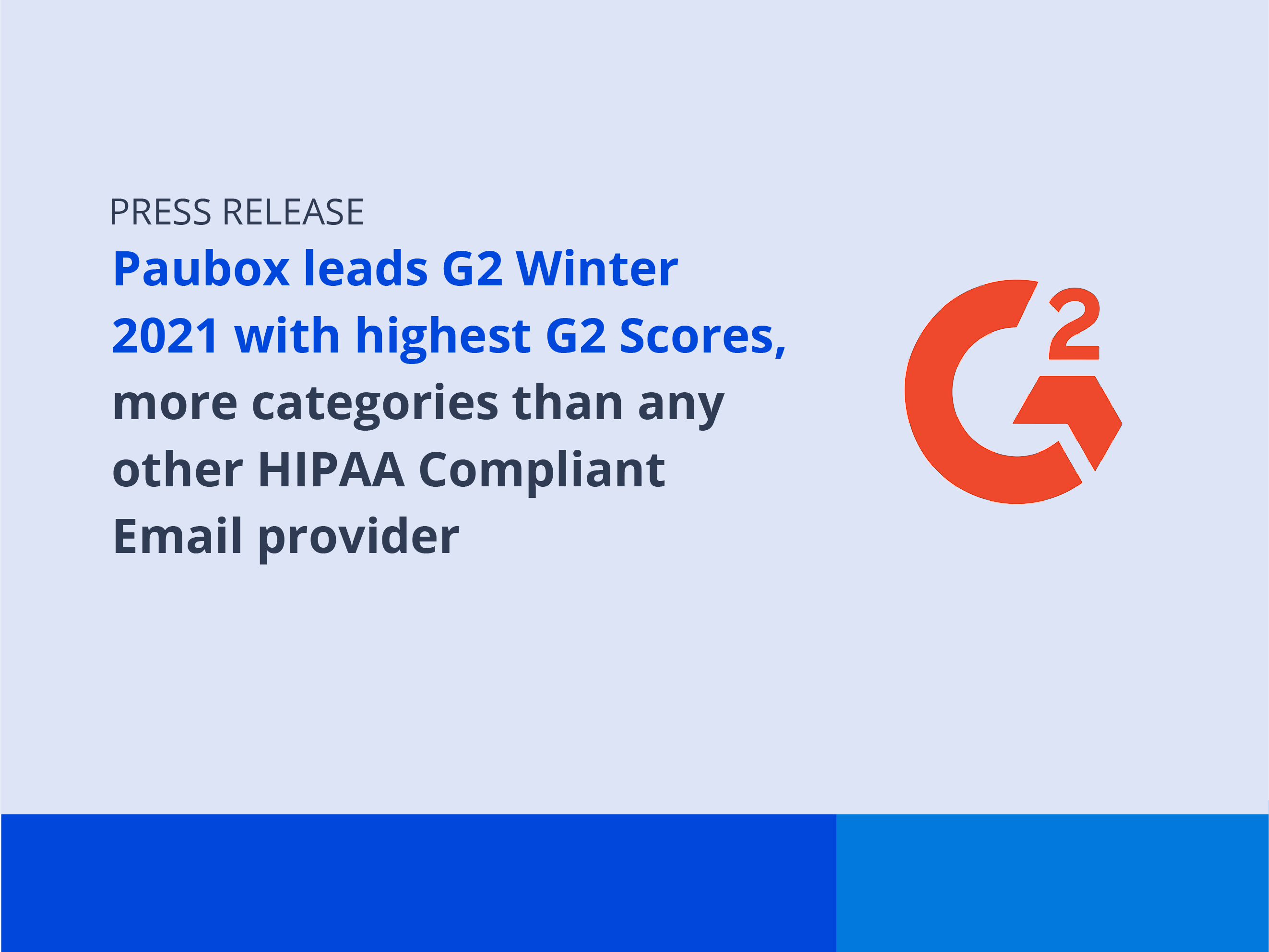 Paubox Leads G2 Winter 2021 with Highest G2 Scores, More Categories Than Any Other HIPAA Compliant Email Provider