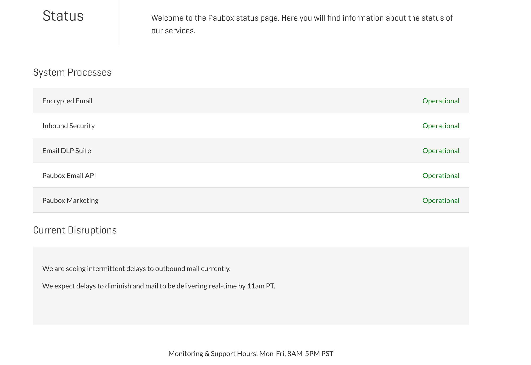 We Messed Up - System Status Page | Paubox